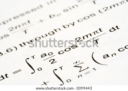 Complex math equation, the feeling of helpless confusion - stock photo
