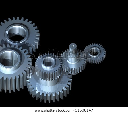 Complex mechanism of gear wheels and axles working together
