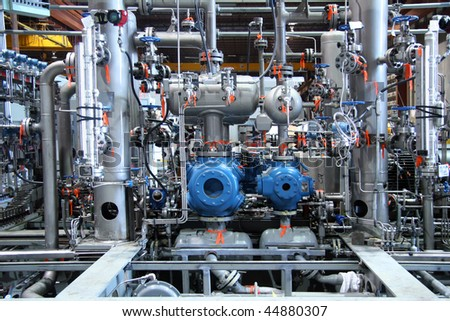 Complex natural gas  compressor station - stock photo