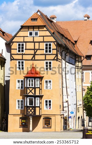 complex of medieval houses called Spalicek, Cheb, Czech Republic - stock photo