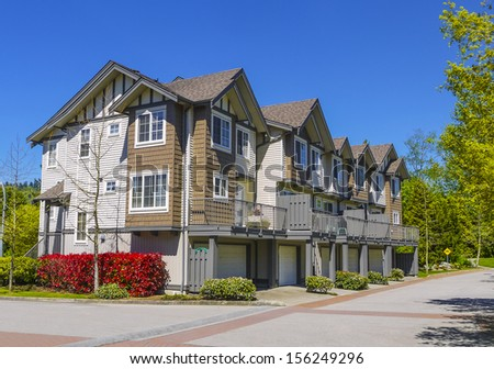 Complex of new townhouses in Burnaby, Canada. - stock photo