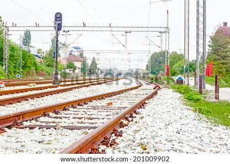 Complex railway junction, confusing tracks in Europe - stock photo