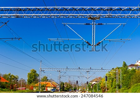 Complex railway junction, confusing tracks in Europe. - stock photo