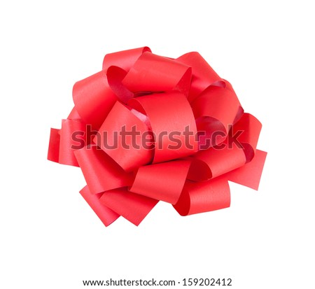 complex red bow isolated on white background - stock photo