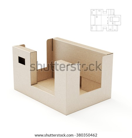 Complex Shelf Tray Box with Die Cut Template