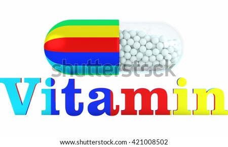 complex vitamins in one tablet on isolated white background.Concept healthy lifestyle. Text and tablet colored, colorful. 3D render.