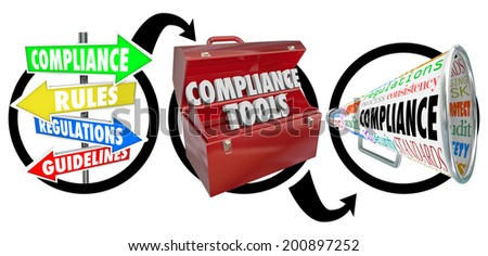 Compliance steps diagram signs, toolbox and megaphone guidelines comply laws - stock photo