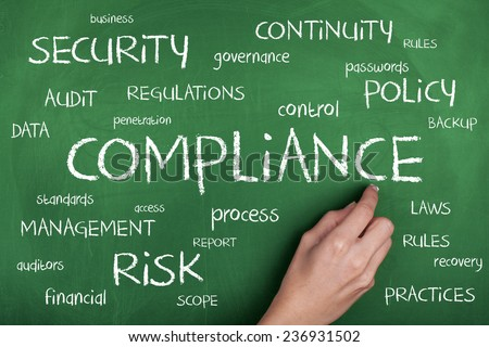Compliance Word Cloud Concept Background - stock photo
