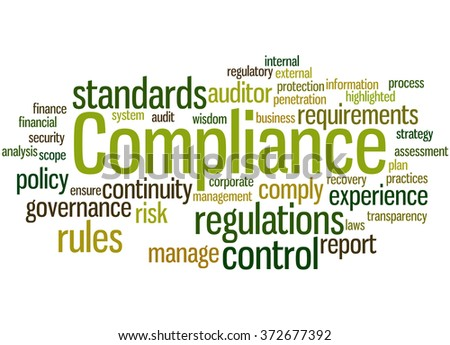 Compliance, word cloud concept on white background. - stock photo