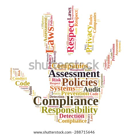 Compliance word cloud shaped as a hand