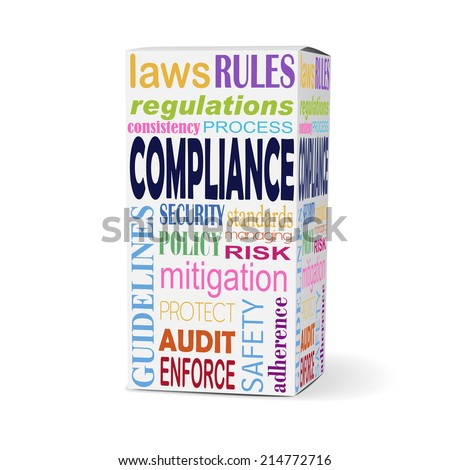 compliance word on product box with safety rules - stock photo