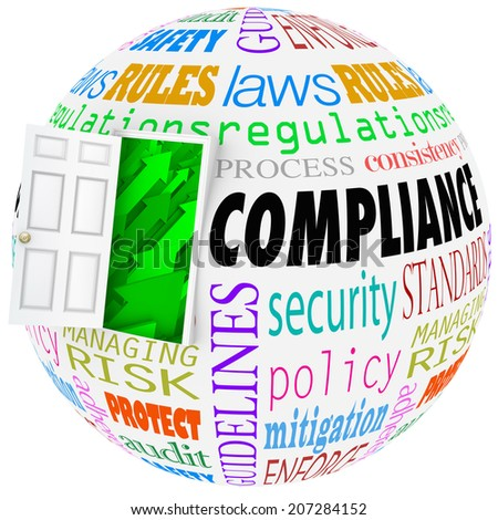 Compliance words globe following rules, regulations, standards and laws in business life - stock photo