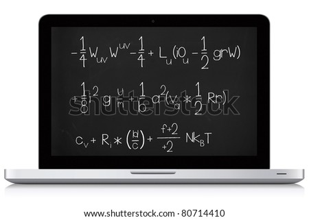 Complicated math formula on a laptop screen. Laptop made from vector drawing, blackboard background with chalk like text. - stock photo