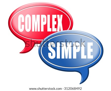 complicated or simple the easy or the hard way decisive choice challenge making choice complex road sign - stock photo
