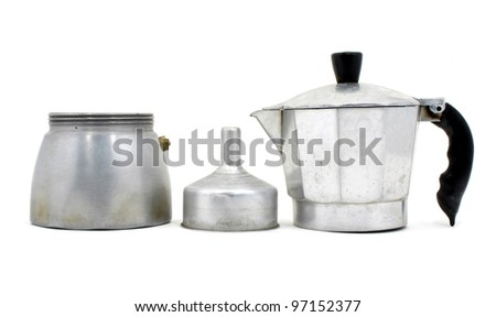 Component of an Italian coffee maker on white background - stock photo