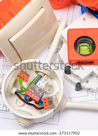 Components for use in electrical installations and diagrams, copper wire connections in electrical box, accessories for engineering work, energy concept - stock photo