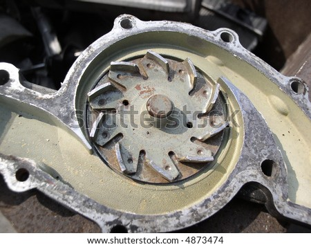 Components of an automobile engine that keep coolant flowing - stock photo