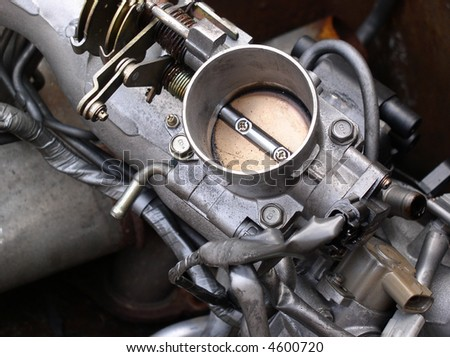 Components of an automobile engine, throttle - stock photo