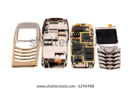 components of mobile phone - stock photo