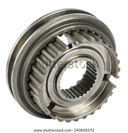 Components of the synchronizer of gear box, synchronizer hub and shift sleeve - stock photo