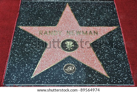 Composer Randy Newman was honored today with a star on the Hollywood Walk of Fame. June 2, 2010  Los Angeles, CA Picture: Paul Smith / Featureflash - stock photo