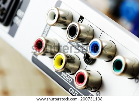 Composite and Component Output connections on back of device. - stock photo