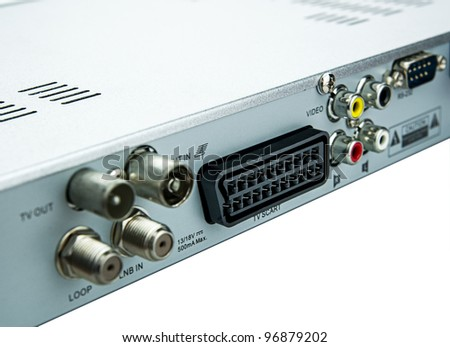 Composite and Component Output connections on back of device - stock photo