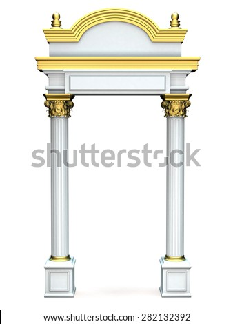 Composite Antique Greek Arc With Gold Elements Isolated on White - stock photo