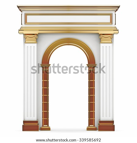 Composite Arch With Gold Elements Isolated on White. 3d rendering.