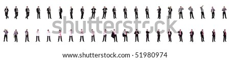 Composite Collection of a Businessman in Various Multiple Positions - stock photo