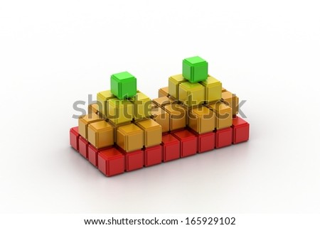 Composite cube with some colorful elements