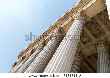Composite Greek Style Columns Row - stock photo