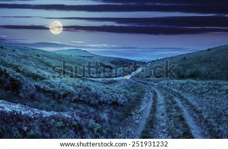 composite highland landscape. with pine forest far away near the road through hillside meadow at night in full moon light - stock photo