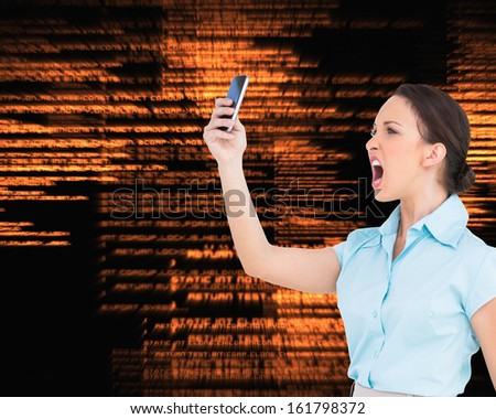 Composite image of angry classy businesswoman yelling at her smartphone - stock photo