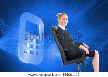Composite image of attractive blonde businesswoman sitting in swivel chair