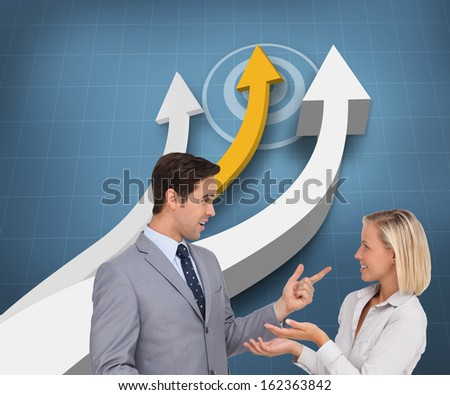 Composite image of business people meet each other - stock photo