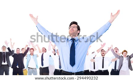Composite image of cheering businessman with his arms raised up in the air - stock photo