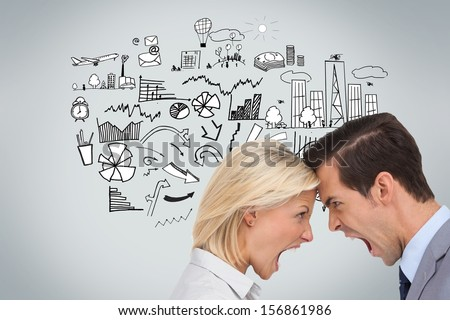 Composite image of colleagues quarreling head against head in front of economic illustration on grey background - stock photo