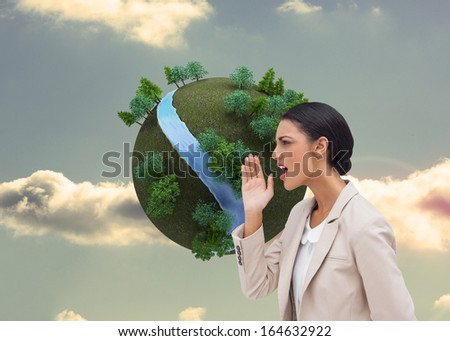 Composite image of confident businesswoman calling for someone - stock photo