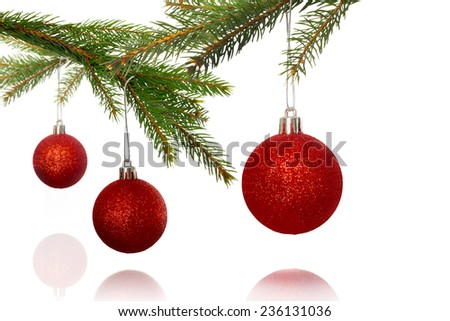 Composite image of Decorations on tree on white background - stock photo
