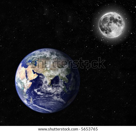 Composite image of earth and moon. Moon orbiting earth. - stock photo