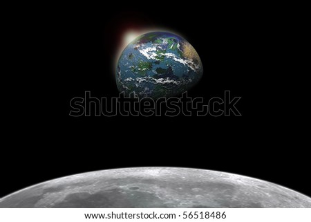 Composite image of earth viewed from the moon (Focus on Earth) - stock photo