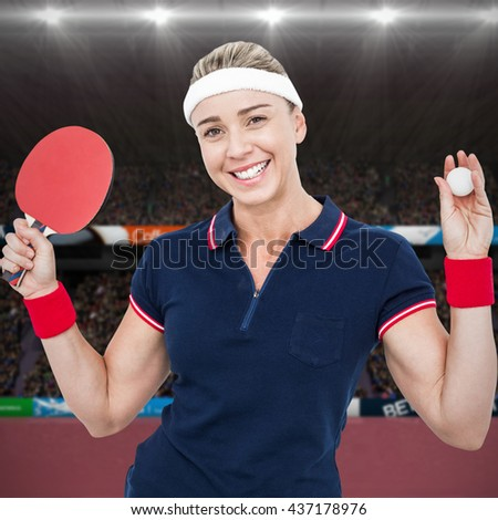 Composite image of female athlete posing with ping pong racket in s stadium