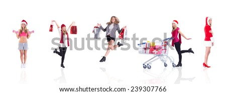 Composite image of festive fit blonde holding dumbbells - stock photo