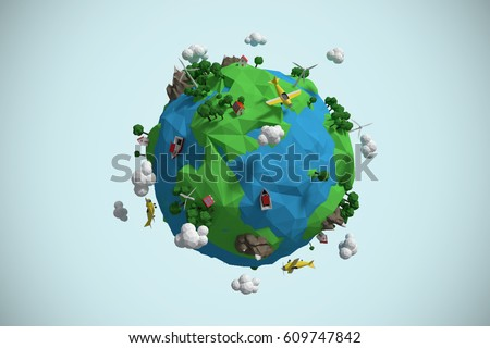 Composite image of globe icon against blue background 3d