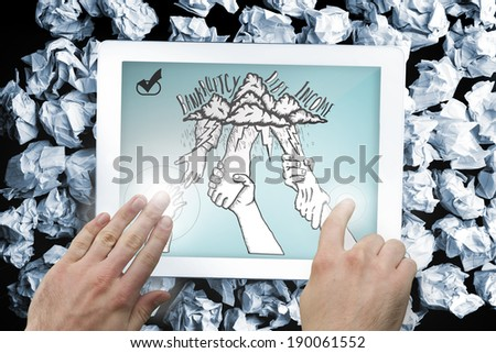 Composite image of hand touching tablet showing bankruptcy and debt doodle with helping hands - stock photo