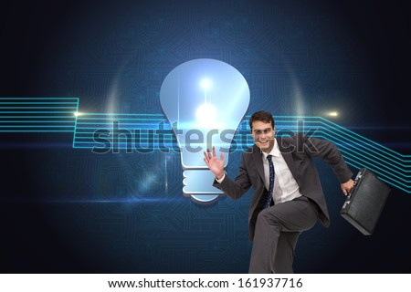 Composite image of happy attractive businessman in a hurry