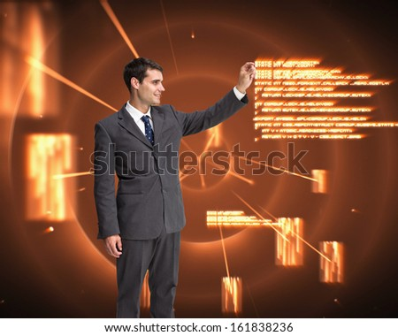 Composite image of happy attractive businessman touching