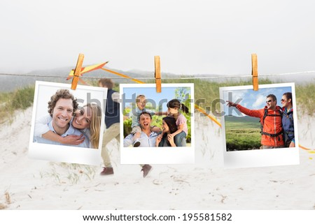 Composite image of instant photos hanging on a line against little boy on the beach - stock photo