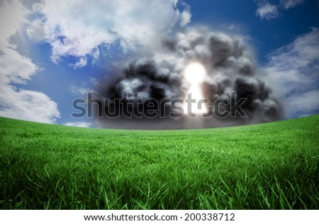 Composite image of key hole in cloud against green field under blue sky - stock photo